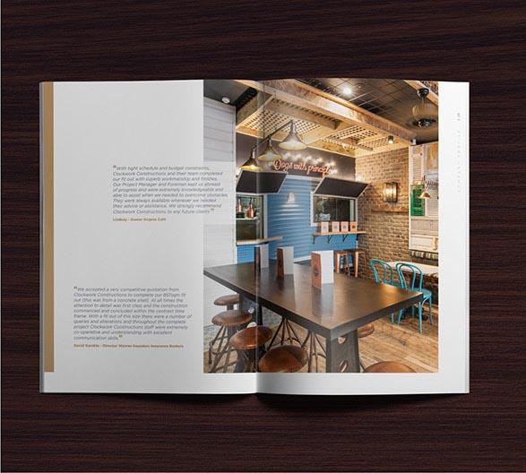 Clockwork Brochure design – showing the New Orleans style Dogma Cafe