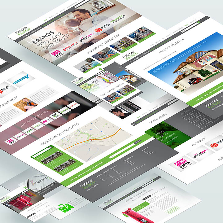 Fletcher Insulation Website – different screens and layouts of the website